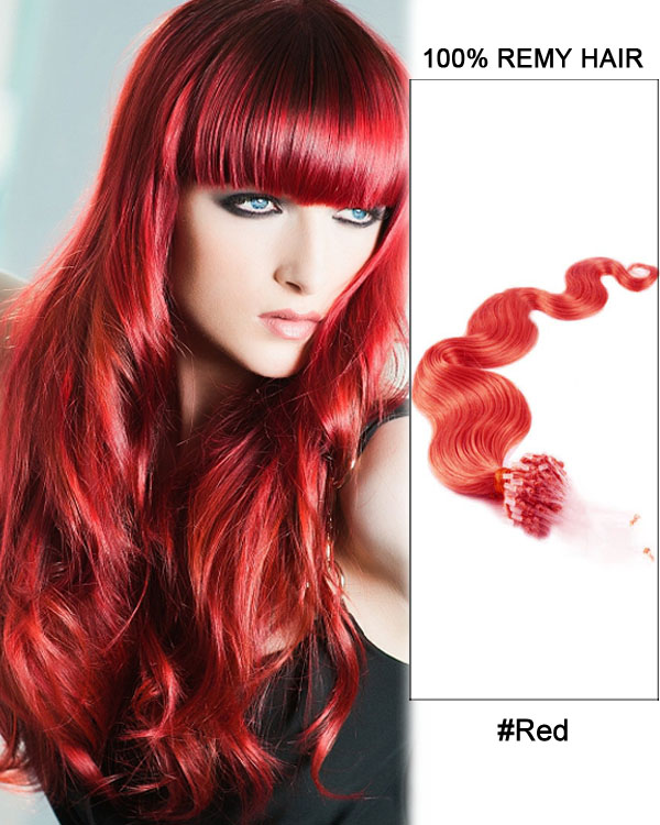 "14"" Red Body Wave Micro Loop 100% Remy Hair Human Hair Extensions-100 strands, 1g/strand"
