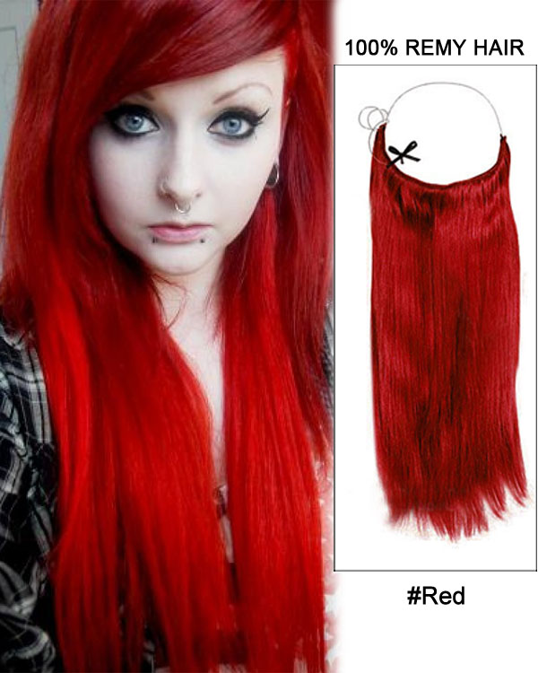 "22"" Red Straight Invisible Wire Secret Hair Extensions 100% Remy Hair Human Hair Extensions"