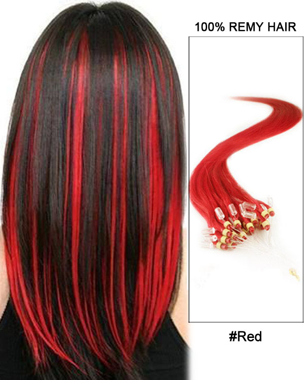 20 100 strands loop micro ring beads tipped remy hair human hair 16 red straight micro loop 100 remy hair human hair extensions 100 strands pmusecretfo Image collections