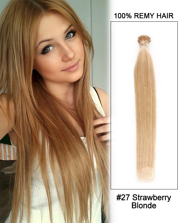 14 27 Strawberry Blonde Straight Stick Tip I Tip 100 Remy Hair