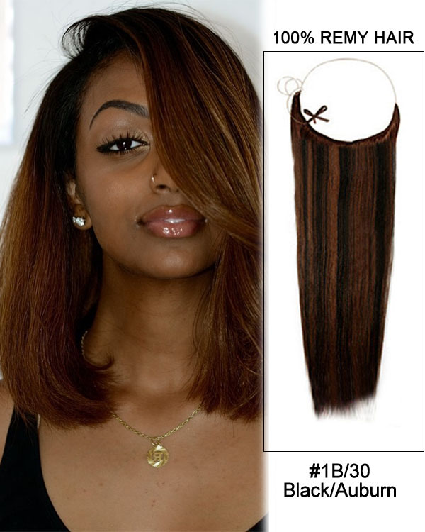 "16"" #1B/30 Black/Auburn Straight Invisible Wire Secret Hair Extensions 100% Remy Hair Human Hair Extensions"