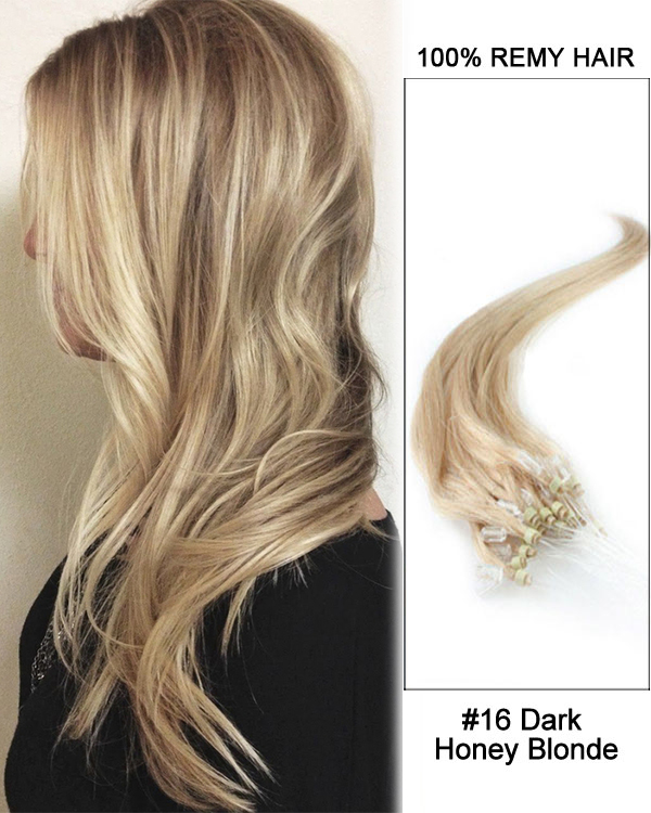 "14"" #16 Dark Honey Blonde Straight Micro Loop 100% Remy Hair Human Hair Extensions-100 strands, 1g/strand"