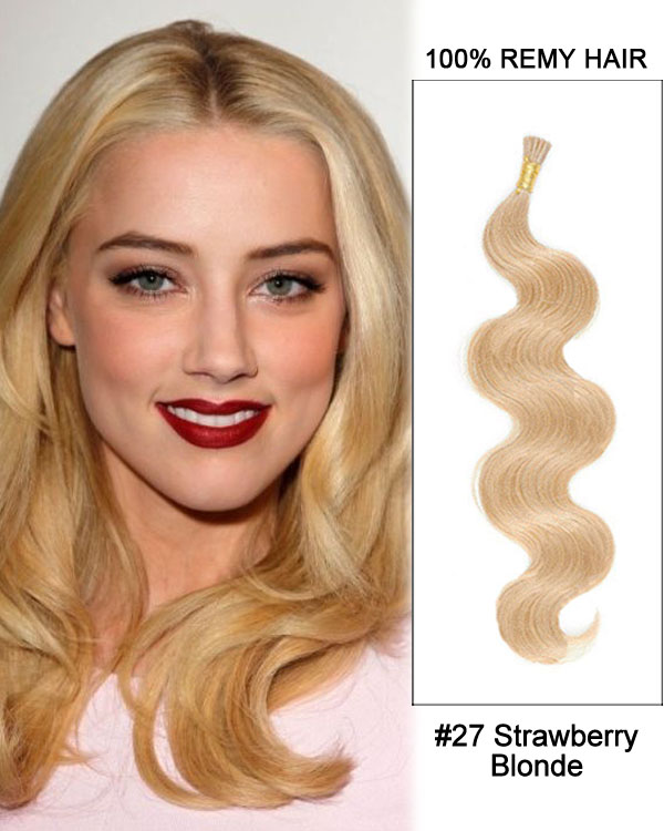 "16"" #27 Strawberry Blonde Body Wave Stick Tip I Tip 100% Remy Hair Keratin Hair Extensions-100 strands, 1g/strand"