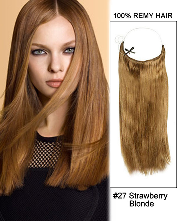 "18"" #27 Strawberry Blonde Straight Invisible Wire Secret Hair Extensions 100% Remy Hair Human Hair Extensions"