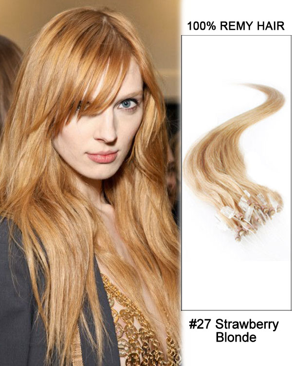 "14"" #27 Strawberry Blonde Straight Micro Loop 100% Remy Hair Human Hair Extensions-100 strands, 1g/strand"