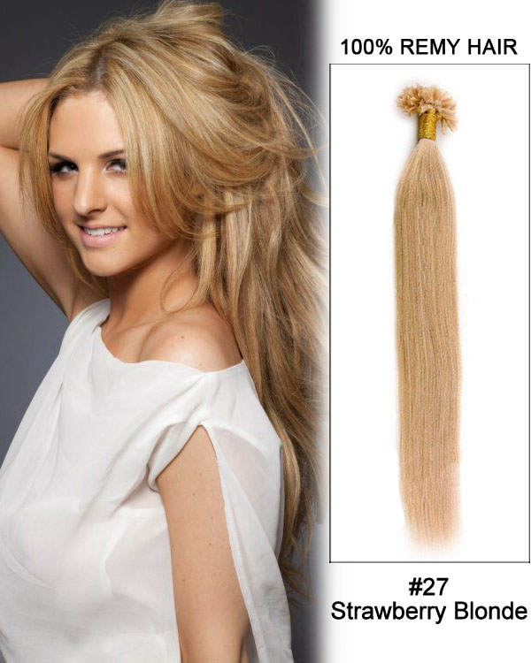 "16"" #27 Strawberry Blonde Straight Nail Tip U Tip 100% Remy Hair Keratin Hair Extensions-100 strands, 1g/strand"