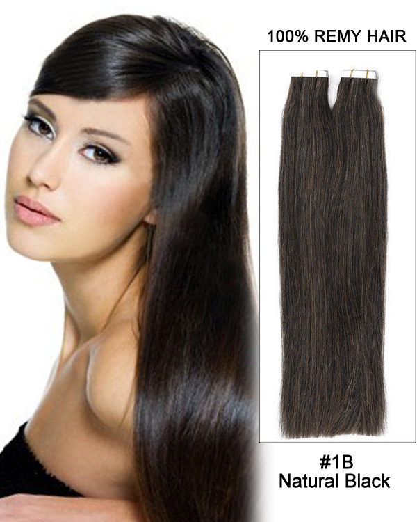 18 1b Natural Black Tape In Remy Hair Human Hair Extensions 100g 40
