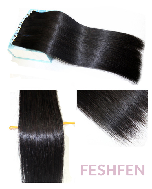 "18"" #1B Natural Black Tape in Remy Hair Human Hair Extensions 100g 40 Pieces"