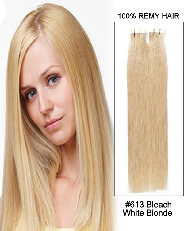 14 60 Ash Blonde Straight 100 Remy Hair Tape In Hair Extensions