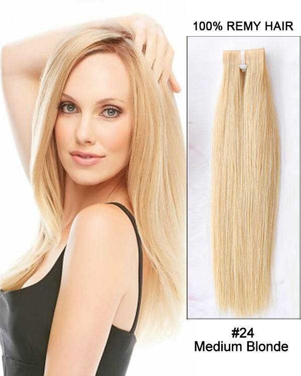 "24"" #18 Medium Blonde Tape in Remy Hair Human Hair Extensions 100g 40 Pieces"