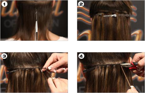 How to wear hair weavewefts part your hair and place a microring onto the hook 2 attach the weft below the part 3 take a section of the weft and of your own hair and thread them pmusecretfo Images