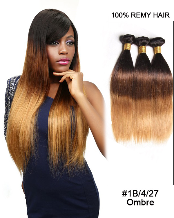 FESHFEN #1B/4/27 Straight 3 Bundles Brazilian Virgin Hair Weave Human Hair Extensions