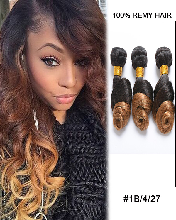 FESHFEN #1B/4/27 Loose Wave 3 Bundles Brazilian Virgin Hair Weave Human Hair Extensions