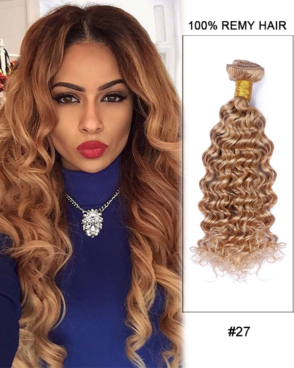 FESHFEN #27 Deep Wave 3 Bundles Brazilian Hair Weave Remy Hair Weft Human Hair Extension