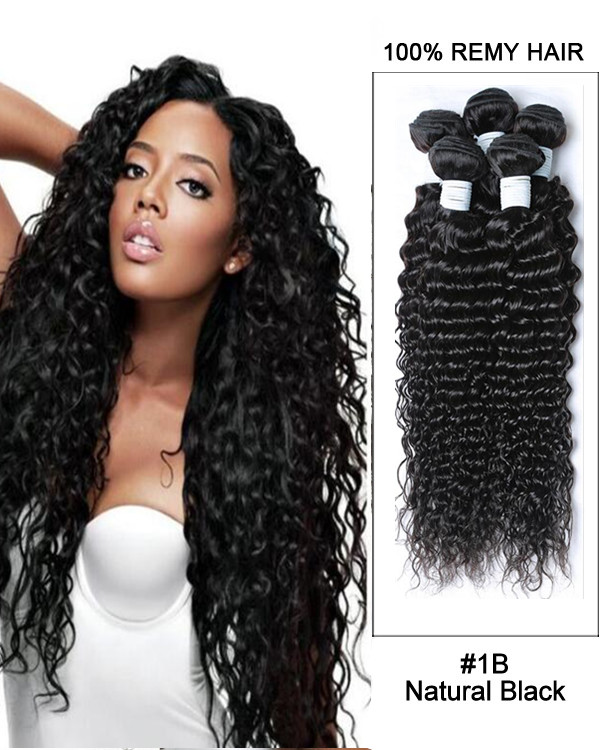 "16"" #1B Natural Black Deep Curly Hair Weave Brazilian Virgin Hair Human Hair Extensions"