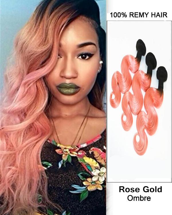 "FESHFEN 3 Bundles Black Rose Gold Ombre Hair Weave Two Tones Body Wave Weft 12""- 30"" Peachy Wavy Remy Human Hair Extensions"