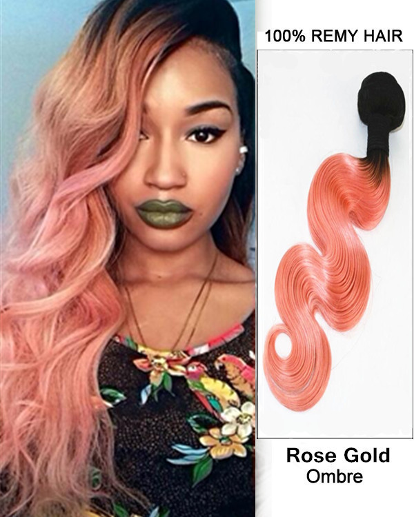"FESHFEN 20"" Black Rose Gold Ombre Hair Weave Two Tones Body Wave Weft Peachy Wavy Remy Human Hair Extensions"