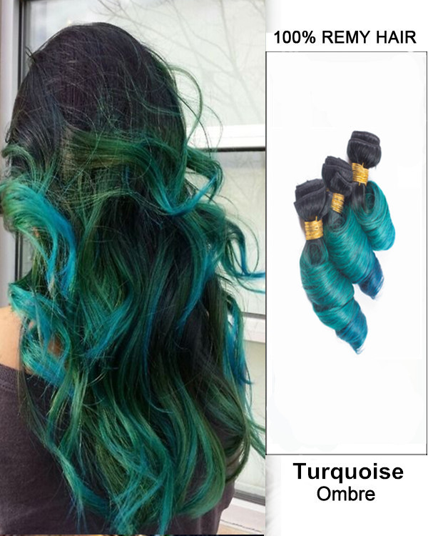 "FESHFEN 3 Bundles Turquoise Black Green Blue Ombre Hair Weave Three Tones Spring Curly Hair Weft 12""- 30"" Teal Blue Ombre Remy Human Hair Extensions"
