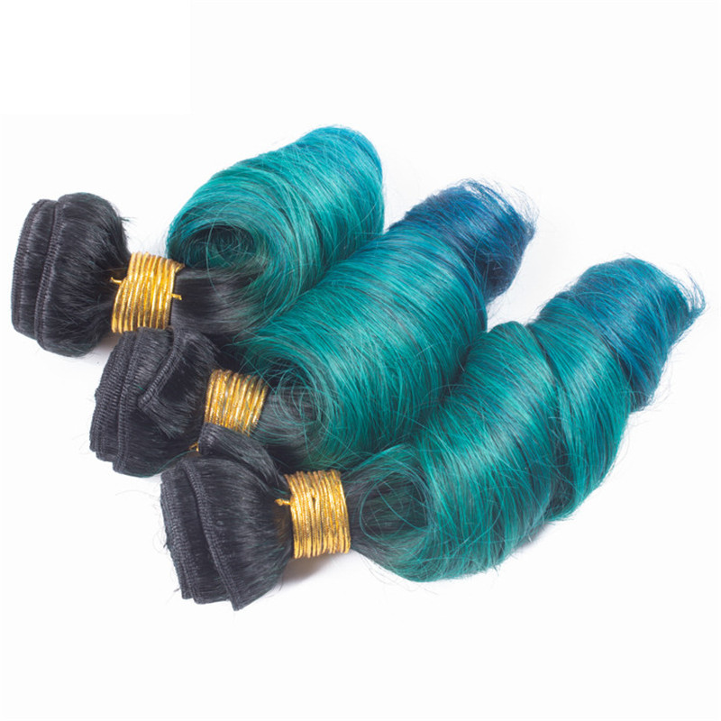 "FESHFEN 3 Bundles Turquoise Black Green Blue Ombre Hair Weave Three Tones Spring Curly Hair Weft 16""- 30"" Teal Blue Ombre Remy Human Hair Extensions"