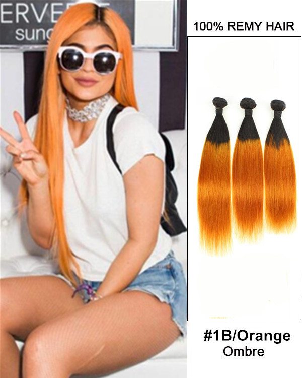"FESHFEN 3 Bundles Black Orange Ombre Hair Weave Two Tones Straight Hair Weft 12""- 30"" Peachy #1B/Orange Remy Human Hair Extensions"