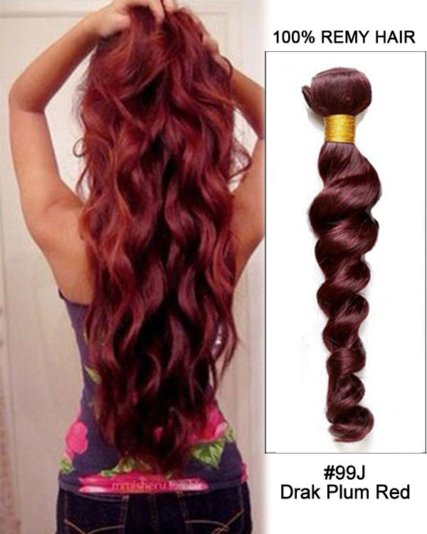 "FESHFEN 20"" #99J Plum Red Loose Wave Weave Remy Human Hair ..."