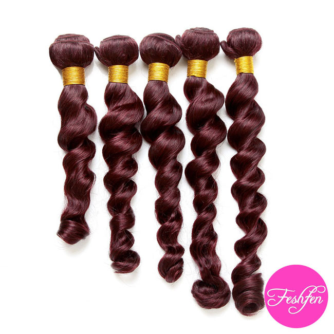 "FESHFEN 20"" #99J Plum Red Loose Wave Weave Remy Human Hair Extensions Wine Red Dark Red Human Hair Weave"