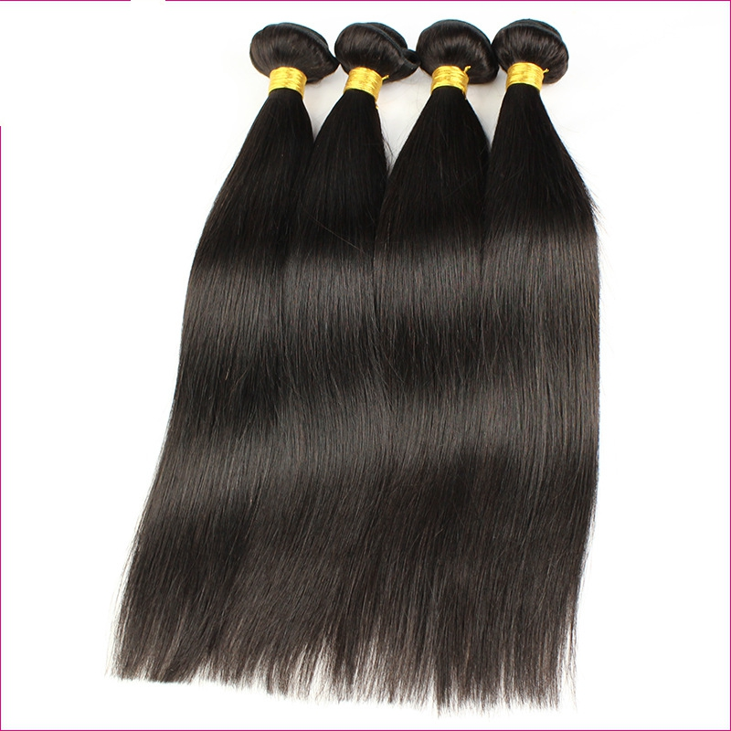 "FESHFEN 16"" Silky Straight #1B Natural Black Brazilian Remy Hair Weave Weft Human Hair Extension"