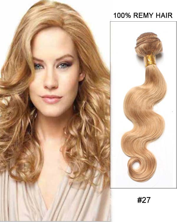 "16"" #27 Strawberry Blonde Hair Body Wave Hair Bundles Remy Human Hair Extensions"