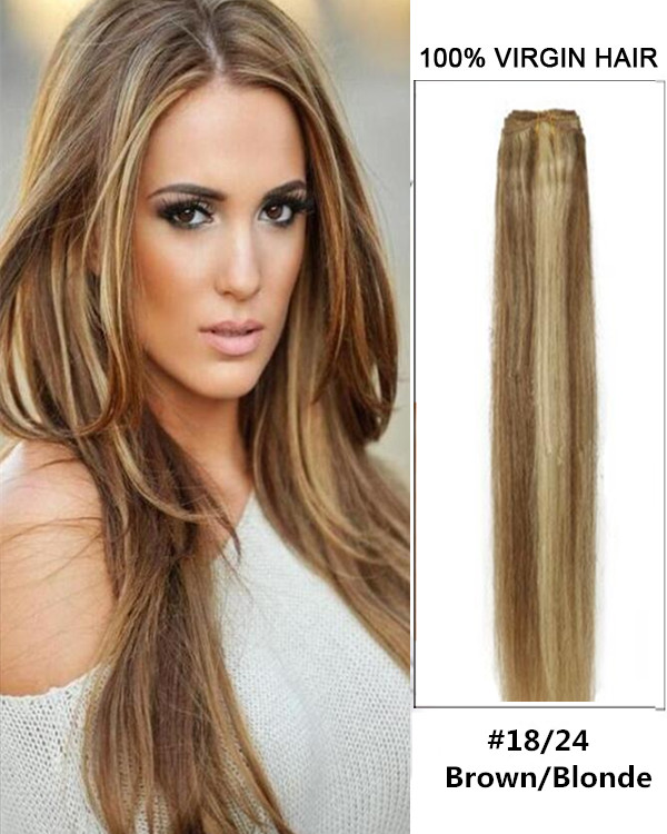 "16"" #18/24 Brown/Blonde Straight Weave 100% Remy Hair Weft Human Hair Extensions"