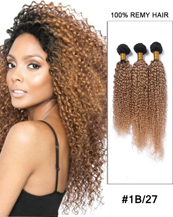 "FESHFEN 3 Bundles #1B/27 Honey Blonde Kinky Curly Hair Weave 12""- 30"" Remy Human Hair Extensions Bundles Sale"
