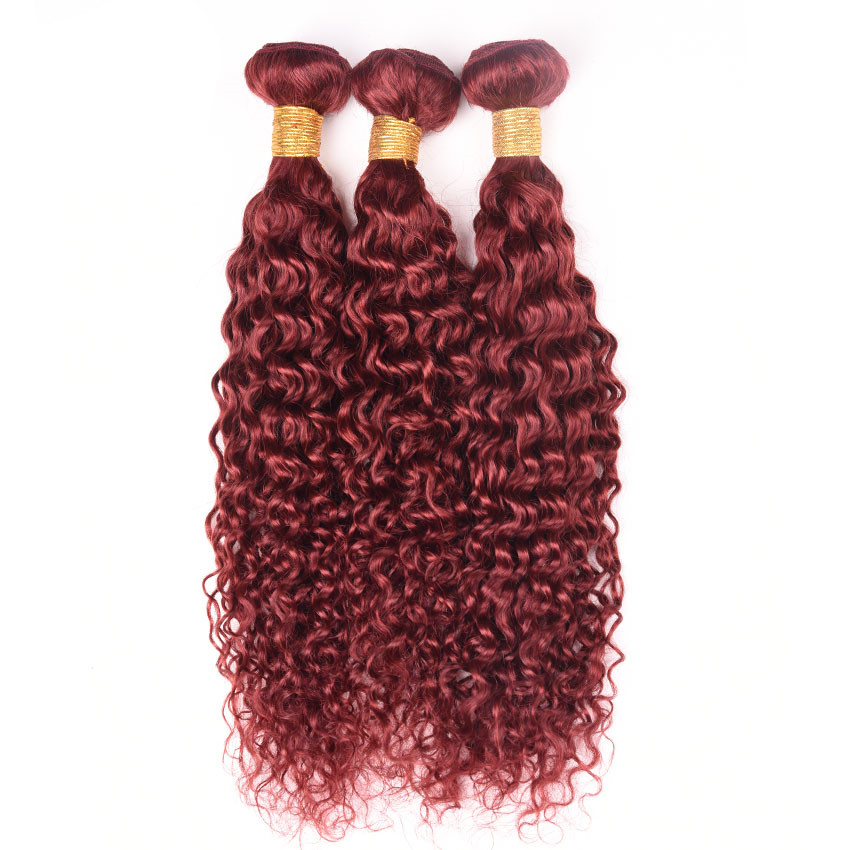"16"" #33 Kinky Curly Hair Weft Burgundy Dark Red Human Hair Weave Remy Human Hair Extensions"