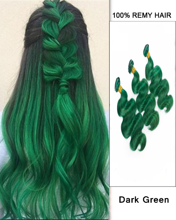 "FESHFEN 3 Bundles Dark Green Body Wave Hair Weave 12""- 30"" Wavy Hair Weft Remy Human Hair Extensions"