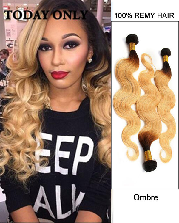 "FESHFEN 22"" #1B/27 Ombre Body Wave Remy Hair Weave Weft Human Hair Extensions"