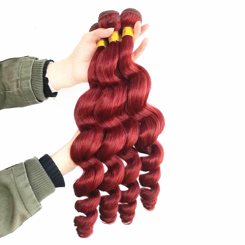 "16"" Red Loose Wave Hair Weft Human Hair Weave Remy Human Hair Extensions"