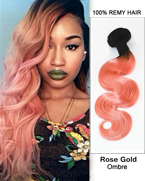 "14"" Black Rose Gold Ombre Hair Two Tones Hair Weave Body Wave Weft Peachy Wavy Remy Human Hair Extensions"
