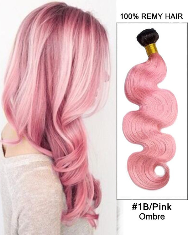 "FESHFEN 2018 New 14""-30"" Black Pink Ombre Hair Two Tones Hair Weave Body Wave Weft Remy Human Hair Extensions"