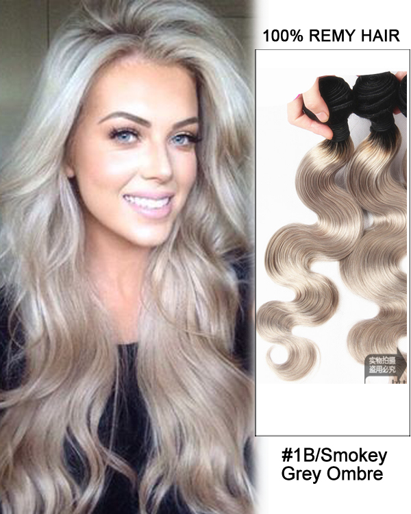 16 Black Smokey Grey Ombre Weave Body Wave Weft Remy Human Hair