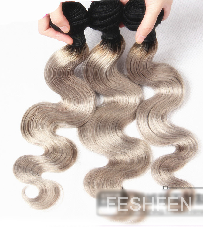 "16"" Black Smokey Grey Ombre Weave Body Wave Weft Remy Human Hair Extensions"