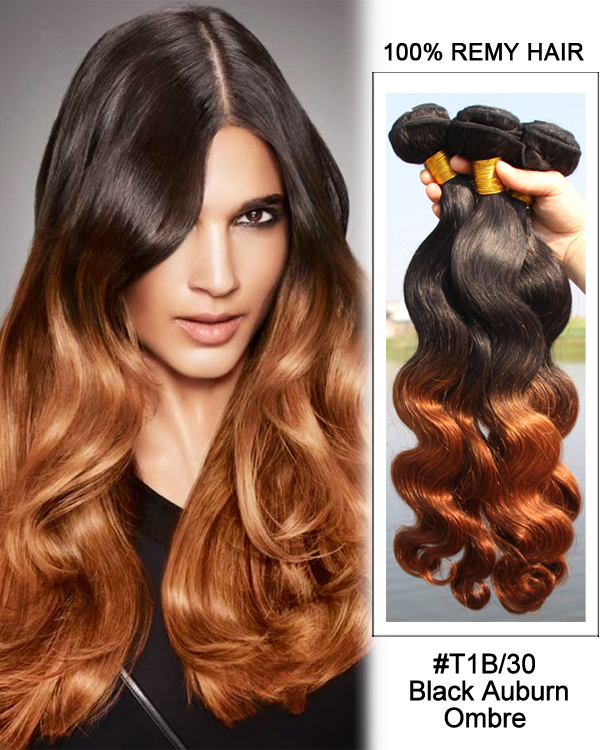 FESHFEN 3 Bundles #T1B/30 Black Aburn Ombre Hair Body Wave Hair Bundles Remy Human Hair Extensions
