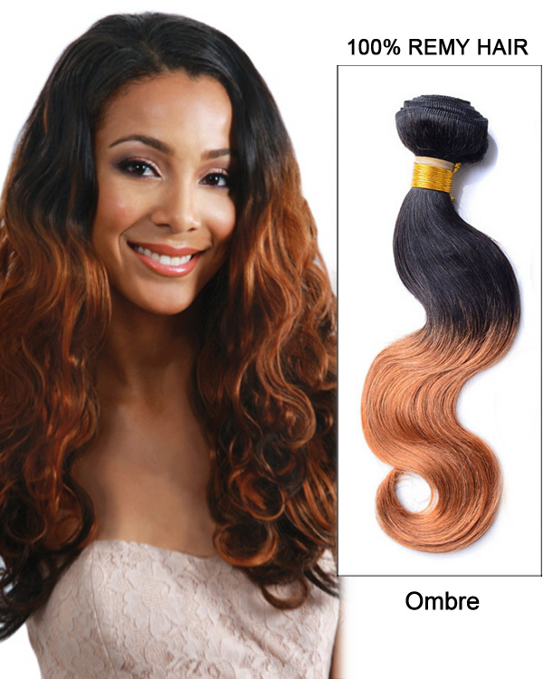 24 Black Auburn Ombre Body Wave Remy Hair Weave Weft Human Hair