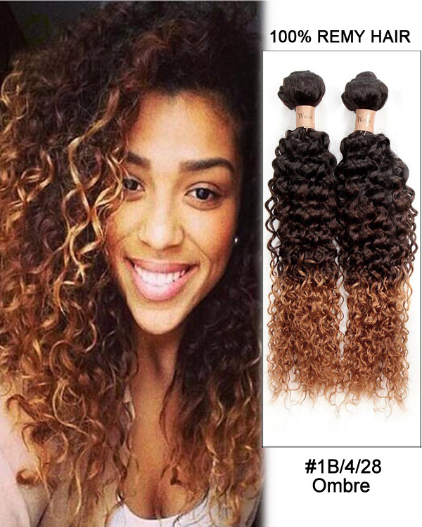 "28"" Kinky Curly #1B/4/28 Ombre Remy Hair Weave Weft Human Hair Extension"