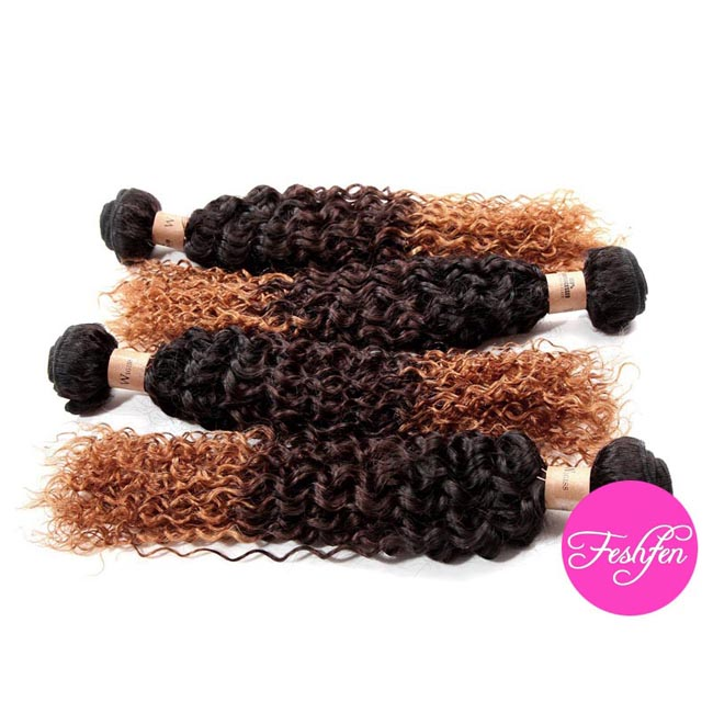 "18"" Kinky Curly #1B/4/28 Ombre Remy Hair Weave Weft Human Hair Extension"