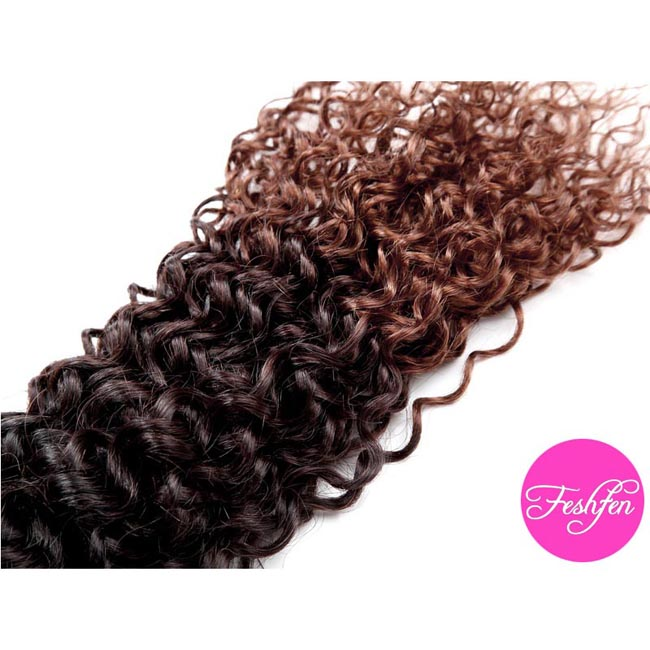 "24"" Black Auburn Ombre Kinky Curly Brazilian Remy Hair Weave Weft #1B/4/30 Human Hair Extensions"