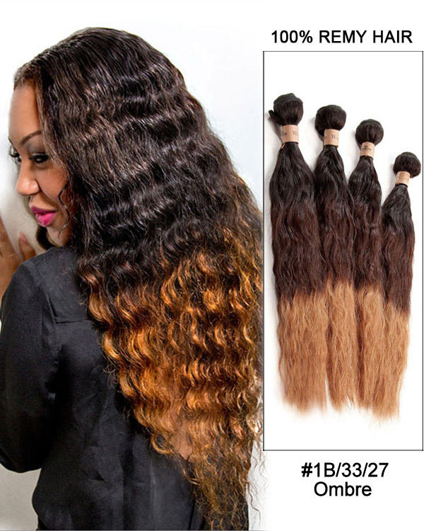"20"" Water Wave Ombre Remy Hair Weave Weft Human Hair Extensions"