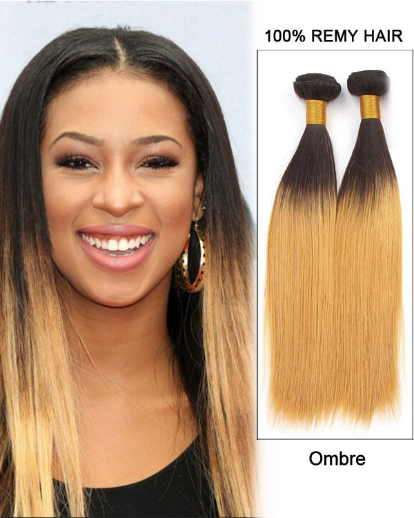 "26"" Straight Brazilian Remy Hair Weave Weft Human Hair Extensions-Black Blonde Ombre"