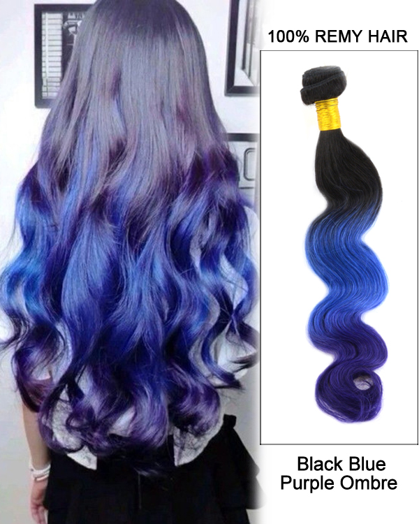"14"" Black Blue Purple Ombre Hair Three Tones Hair Weave Body Wave Weft Remy Human Hair Extensions"