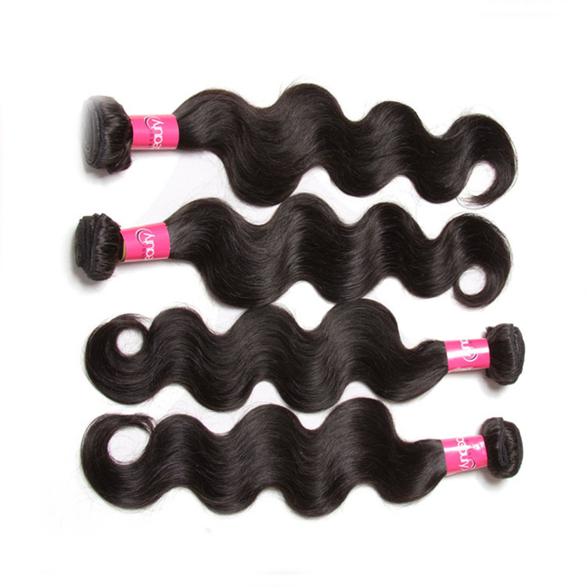 "20"" Natural Black Body Wave Brazilian Remy Hair Weave Weft Human Hair Extensions"