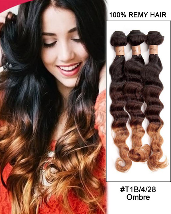 "FESHFEN 3 Bundles #1b/4/28 Ombre Deep Wave 3 Tones Hair Weave Wavy Hair Weft 12""- 30"" Remy Human Hair Extensions"