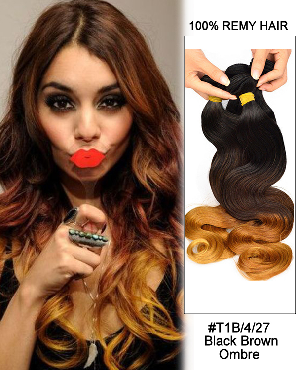"16"" #T1B/4/27 Black Brown Ombre Hair Body Wave Hair Bundles Remy Human Hair Extensions"
