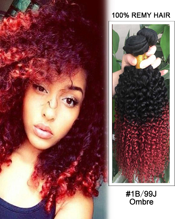 "18"" Black Burgundy Ombre Weave Curly Wave Weft Remy Human Hair Extensions"
